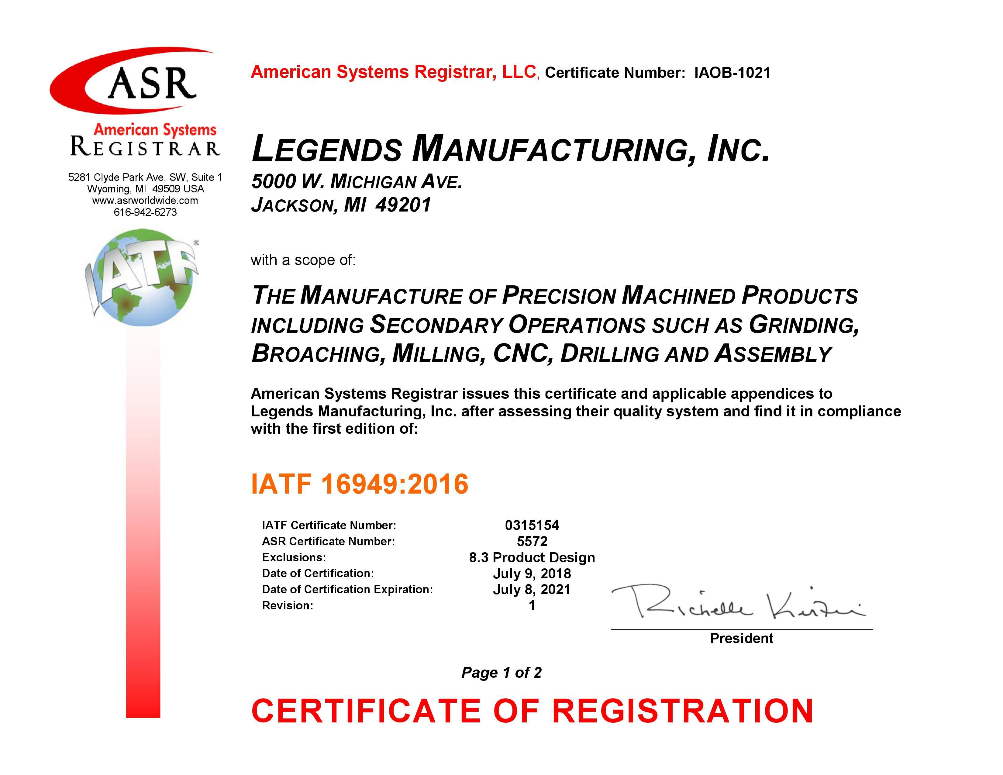 Legends Manufacturing IATF 16949 Certificate Front