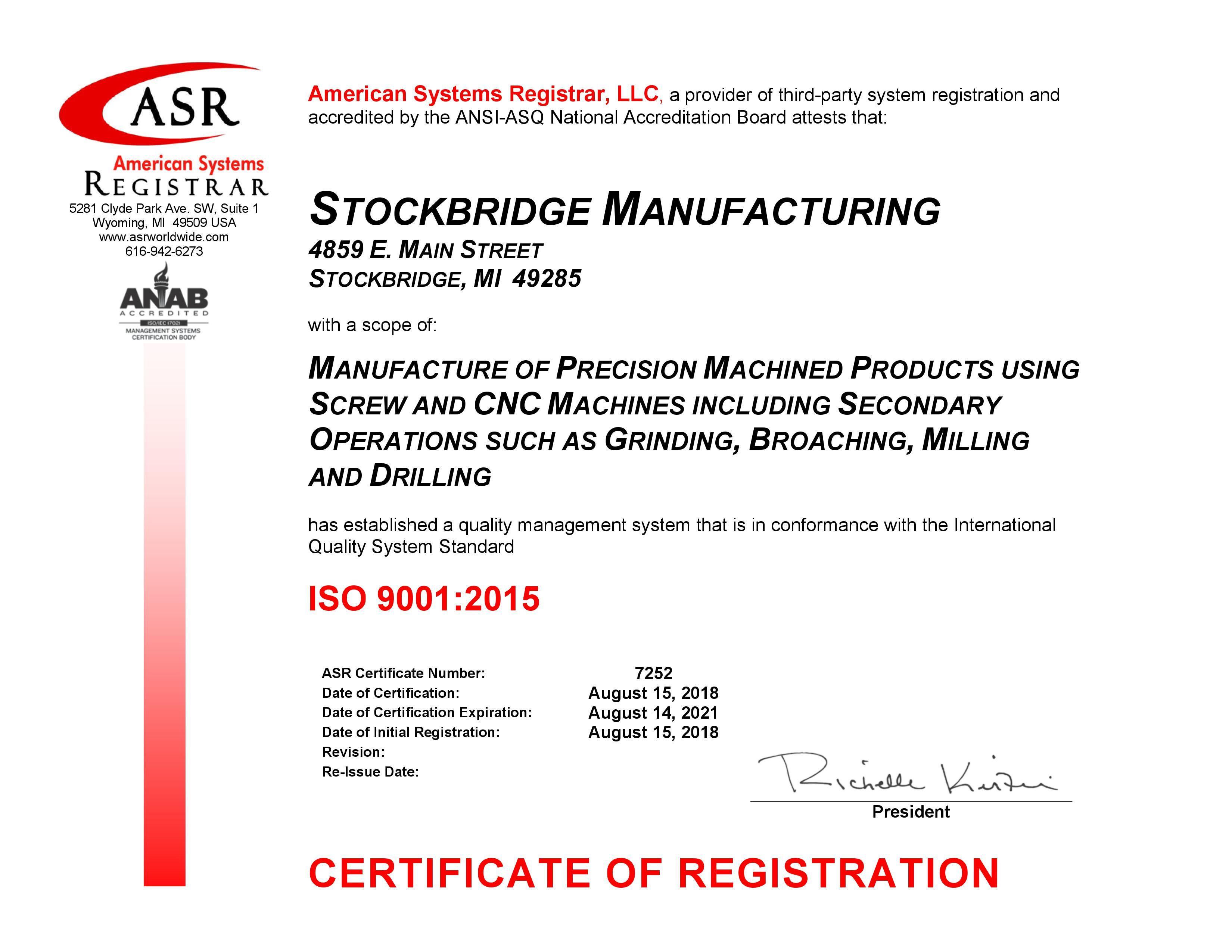 Stockbridge Manufacturing ISO 9001 Certificate